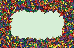 färgglada blad ram med kopia utrymme