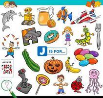 bokstaven j ord pedagogisk uppgift för barn vektor