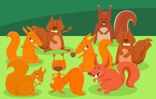 tecknade ekorrar djur karaktärer grupp vektor