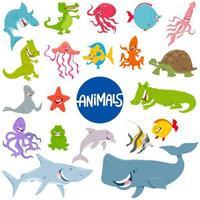 tecknade marina djur karaktärer set vektor