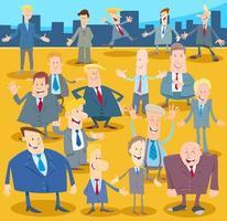 Geschäftsleute oder Männer Zeichentrickfiguren drängen sich