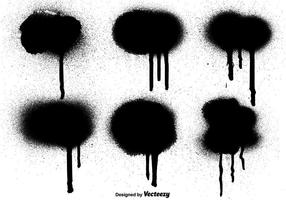 Vector Graffiti Black Paint Drips Elemente