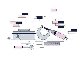 Free Micrometer und Toolbox Vektor