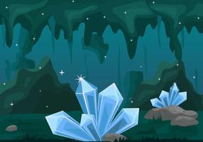 Innerhalb der Höhle mit dem Cristal Stone Hintergrund vektor