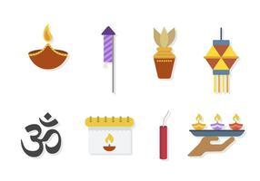 Flat Diwali Vektoren