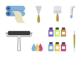 Flache Lithographie Werkzeug Vektoren