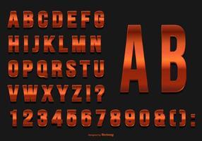 Glittrande rött alfabet samling vektor