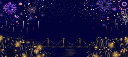 Festival Feuerwerk in der Nacht vektor