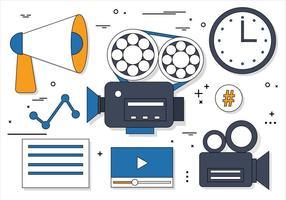 Free Flat Design Vektor Online Medien Icons