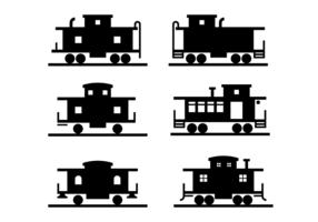Svart caboose ikon vektor