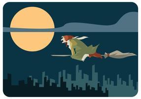 En Epiphany Häxa Med Flying Broom Vector