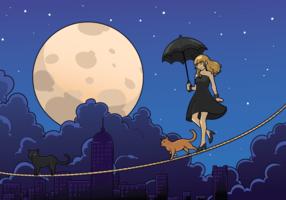 Tightrope Walker Mädchen mit Regenschirm