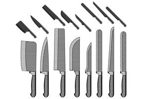 Tappning knivar samling vektor