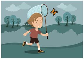Freier Junge mit Schmetterlingsnetz Vektor