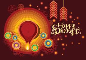 Fire Cracker med dekorerade Diya för Happy Diwali Holiday