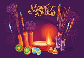 Burning Diya och Fire Cracker på Happy Diwali Holiday Bakgrund för Light Festival of India vektor