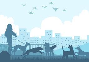 Whippet Hundeschattenbild im Park vektor