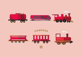 Röd caboose vektor platt samling