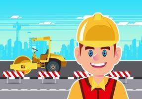 Byggnadsarbetare med Steamroller Vector