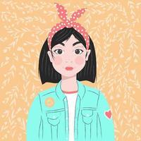 porträtt av en flicka med mörkt hår