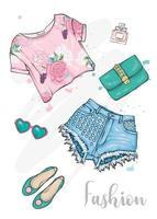 Set stilvolle handgezeichnete Damenbekleidung und Accessoires