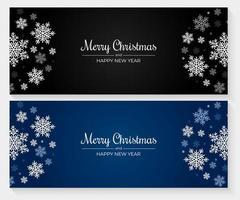 Weihnachtsbanner mit blauen, weißen und grauen Schneeflocken