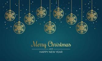 jul affisch med gyllene snöflingor och ornament