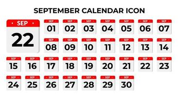 September Kalender Symbole