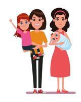 Familien-Comicfiguren zusammen