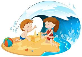 barn under våg spelar på stranden