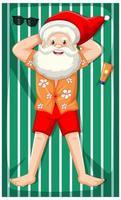 Weihnachtsmann, der Sonnenbad-Zeichentrickfigur nimmt