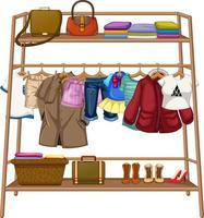 Kleidung hängt an einer Wäscheleine mit Accessoires vektor