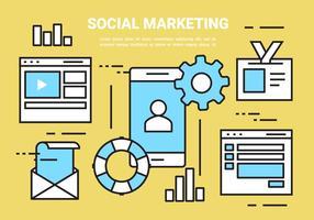 Gratis linjära sociala marknadsföringselement
