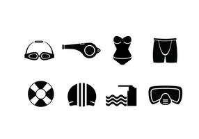 Schwimmbad-Set Icons