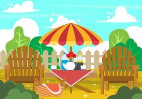Picknick im Garten vektor
