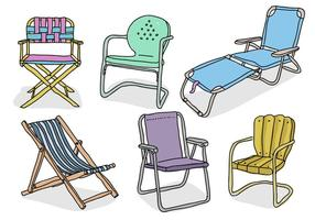 Rasen Stuhl Hand gezeichnet Gekritzel Vektor-Illustration Sammlung vektor