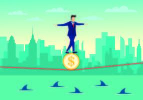 Affärsman Walking Tightrope Med Förtroende Vector