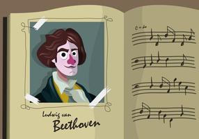 Beethoven Cartoon Porträt Vektor Illustration