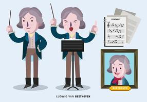 Ludwig Van Beethoven Karaktär Vektor Illustration