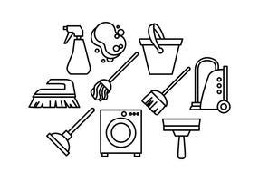 Kostenlose Reinigungstools Line Icon Vector