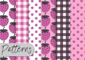 Jordgubb rosa mönster set vektor