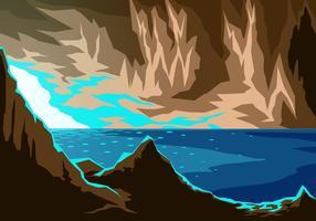 Sjö i grottan fri vektor