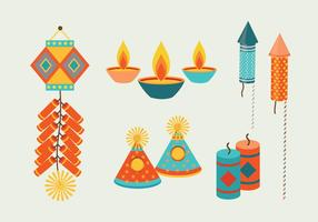 Colorfull diwali crackers vektor samling
