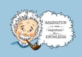 Gullig Albert Einstein Karaktär Rökning Med Citat