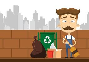 Sweeping Hausmeister Cartoon Free Vector