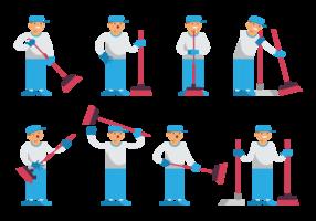 Junge Sweeps Cartoon Vektor