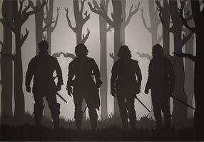 Musketiere durch den Nebel freien Vektor