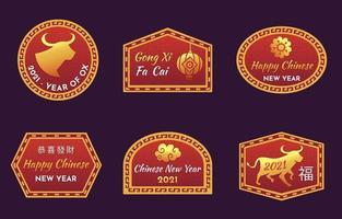 chinesische Neujahr 2021 Etiketten vektor