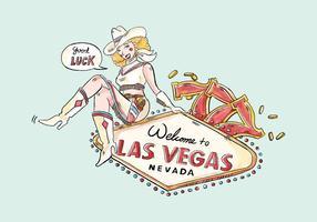 Cowgirl Mit Las Vegas Zeichen Und Glückliche Zahl 7 Vektor