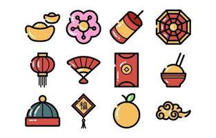 ikoner för kinesiska nyåret vektor